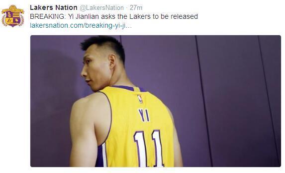 易建联遭湖人裁员主动要求离队,NBA再度失利阿联重返CBA广东男篮
