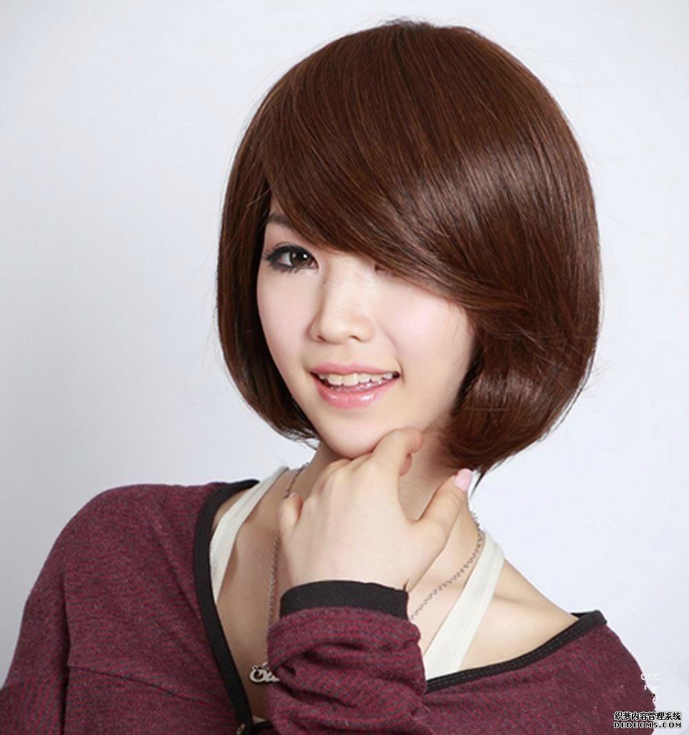 圆脸女生短发发型有哪些之偏分式刘海短发发型 并不是图片